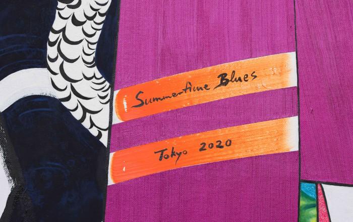 亜 真里男「Gogh、Kiyoshiro & Me (Summertime Blues - Tokyo 2020)」キャンバスに油、103 x 200 cm、部分、2016年