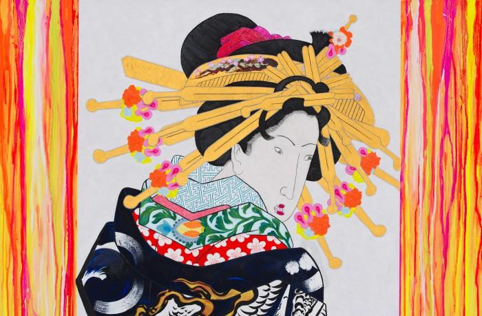 亜 真里男「Gogh、Kiyoshiro & Me (Summertime Blues - Tokyo 2020)」キャンバスに油、103 x 200 cm、部分1、2016年